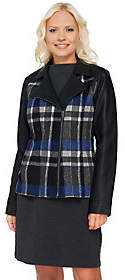Denim & Co. Plaid and Faux Leather Motorcycle Jacket