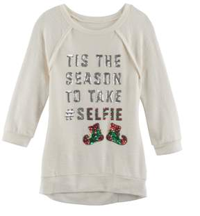 Miss Chievous Girls 7-16 Christmas 3/4-Sleeve Sequin Hatchi Tunic