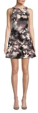 Ellen Tracy Floral Sleeveless Flounce Dress