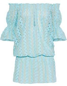 Melissa Odabash Nicolette Off-The-Shoulder Metallic Crochet-Knit Mini Dress