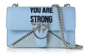 Pinko Women's Light Blue Leather Shoulder Bag.