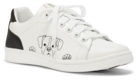 ED Ellen Degeneres Chap Dog Print Leather Sneakers