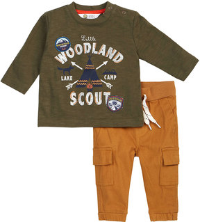 Petit Lem Woodland Scout Two-Piece Set, White, Size 3-24 Months