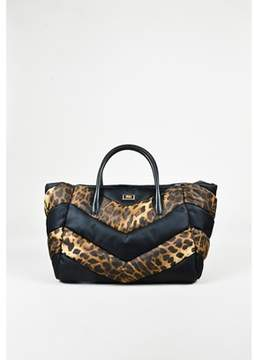 Class Roberto Cavalli Pre-owned Black Brown Nylon Leopard Print Quilted Tote Bag.