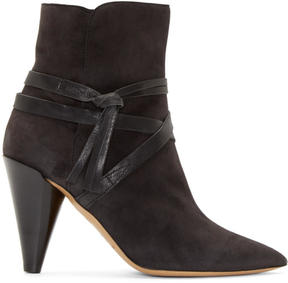 Isabel Marant Charcoal Suede Strapped Nerys Boots