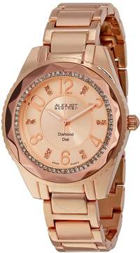 August Steiner Rose Dial Rose Gold-Tone Womens Watch