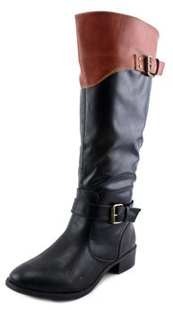 Rampage Ives Women Round Toe Leather Black Knee High Boot.