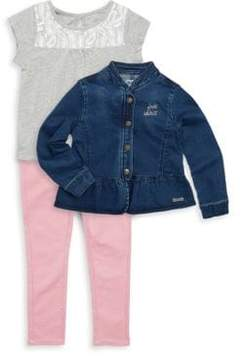 Hudson Little Girl's Three-Piece Free Spirit Cotton Top, Denim Jacket & Pants Set