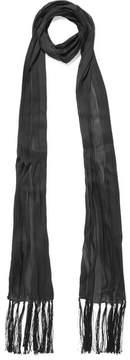 Bottega Veneta Tasseled Plissé Silk-chiffon Scarf - Black