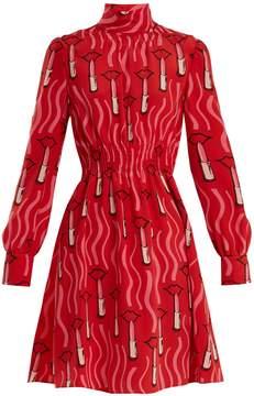 Valentino Lipstick-print silk-crepe dress