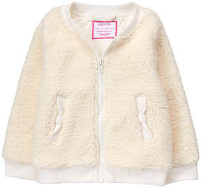 Gymboree White Fuzzy Bomber Jacket - Infant & Toddler