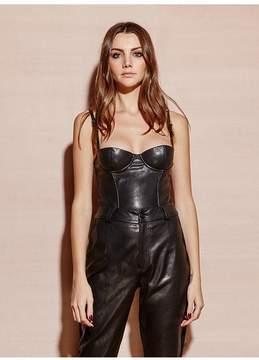 Fleur Du Mal | Leather Bustier Top | S | Black