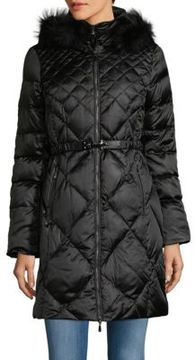 1 Madison Fur-Trimmed Quilted Zip-Front Parka