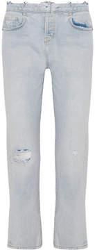 Current/Elliott The Original Straight Distressed High-rise Jeans - Light blue