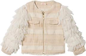 Billieblush Ivory Tweed Jacket with Tulle Fringe Sleeves