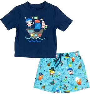 Trunks Baby Boy Kiko & Max Pirate Ship Rash Guard Top & Swim Set