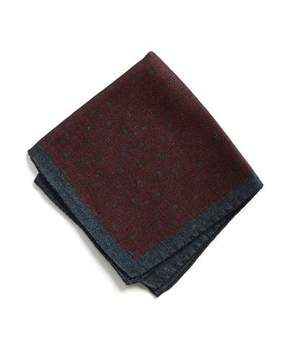 Todd Snyder Italian Wool Burgundy Square Dot Pocket Square