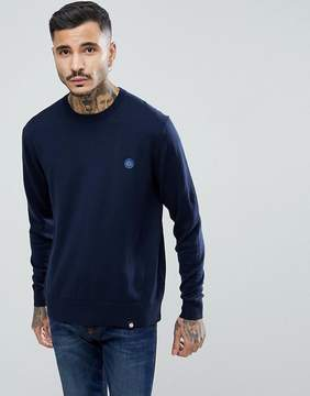 Pretty Green Hinchcliffe Crew Neck Sweater in Navy