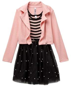 Beautees Pearl Embellished Tulle Bottom Dress & Moto Jacket Set (Big Girls)