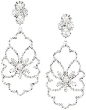 Cezanne Rhinestone & Faux-Pearl Leaf Statement Chandelier Earrings