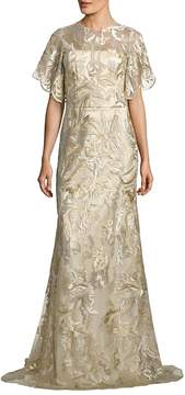 Theia Women's Metallic Embroidered Gown