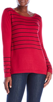 August Silk Button Back Striped Sweater