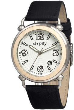 Simplify Khaki & White The 1600 Leather-Strap Watch - Men