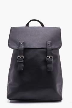 boohoo Black PU Fold Over Strap Backpack