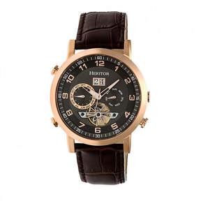 Heritor Edmond Mens Brown Strap Watch-Herhr6205