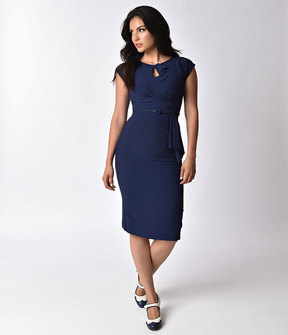 Stop Staring 1940s Style Navy Blue Fitted Timeless Wiggle Dress