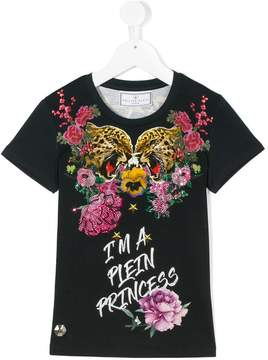 Philipp Plein Junior tiger floral print T-shirt
