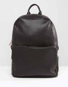 Asos Backpack In Black Faux Leather With Rose Gold Zip