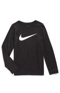 Nike Boy's Dry Long Sleeve Swoosh Logo T-Shirt