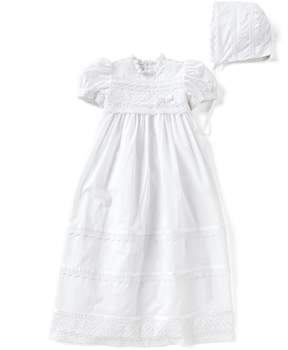 Edgehill Collection Baby Girls Newborn-12 Months Victorian Christening Gown & Matching Bonnet Set