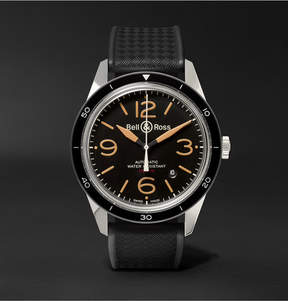 Bell & Ross Br 123 Sport Heritage Automatic Steel And Rubber Watch