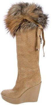 Christian Dior Fox-Fur Cannage Boots