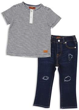 7 For All Mankind Boys' Henley Tee & Distressed Jeans Set - Little Kid