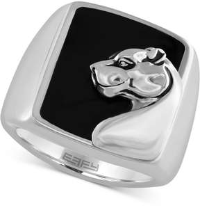 Effy Gento by Men's Onyx (7-9/10 ct.t.w.) Panther Head Ring in Sterling Silver