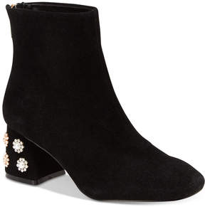 Nanette Lepore Nanette by Rose Pearl Embellished Pearl Block-Heel Booties Women's Shoes