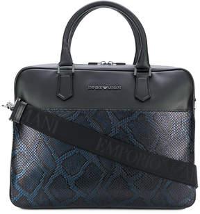 Emporio Armani snake effect laptop bag