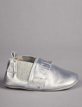 Marks and Spencer Baby Leather Fringed Pram Shoes