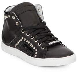 Alessandro Dell'Acqua Studded High-Top Leather Sneakers