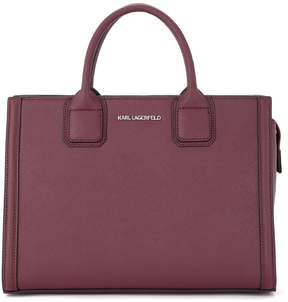 Karl Lagerfeld Klassik Purple Saffiano Leather Handbag