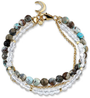 Footnotes Womens Clear Silver Over Brass Beaded Bracelet