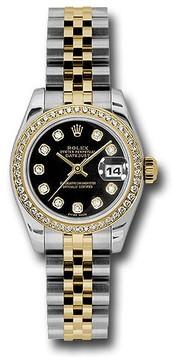 Rolex Lady Datejust Black Dial Diamond Automatic Watch