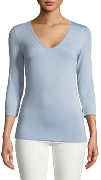 Neiman Marcus Majestic Paris for Soft Touch 3/4-Sleeve Top