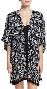 Seafolly Palm Print Kimono Jacket Coverup, Black