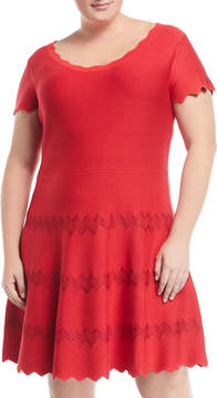 Alexia Admor Plus Scallop Sweater Knit Dress, Plus Size