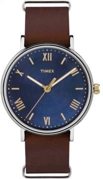 Timex Men's Southview 41 Blue/Silver-Tone Watch, Brown Leather Strap
