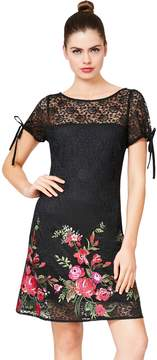 Betsey Johnson LACE DRESS WITH EMBROIDERY AND TIE DETAILS